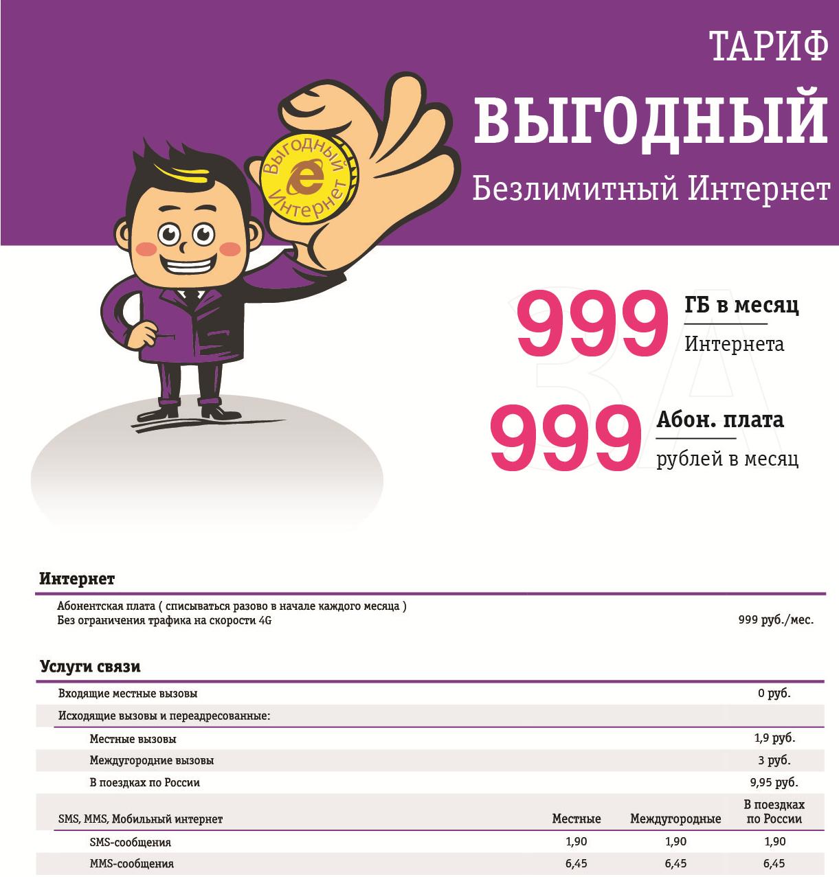 Безлимитный мобильный интернет (999Гб за 999руб)